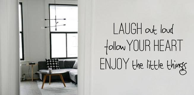Laugh out loud follow your heart enjoy the little things vinyl wall art sticker from www.wallartcompany.co.uk