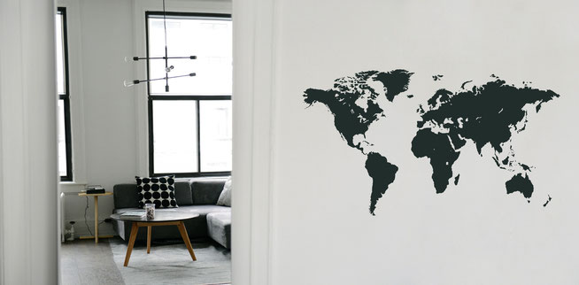 Vinyl decal world map, this design comes in many colours, great for planning where to go next!