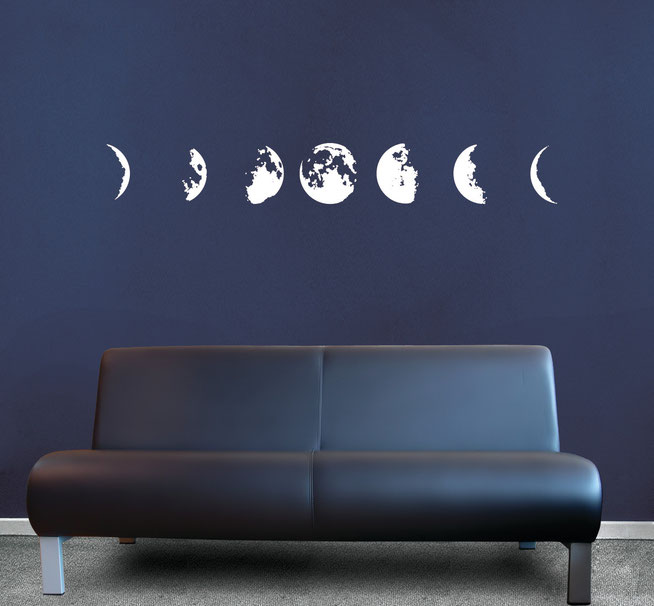 Phases of the Moon vinyl wall art from waxing to full to waning.   Many colours available from wallartcompany.co.uk