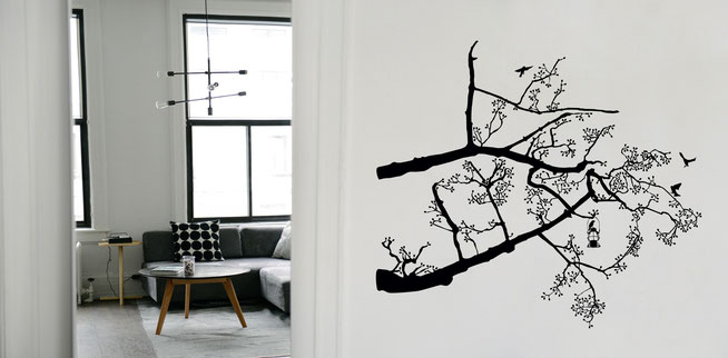 Lantern tree in black with black birds and black leaves vinyl wall art decal.