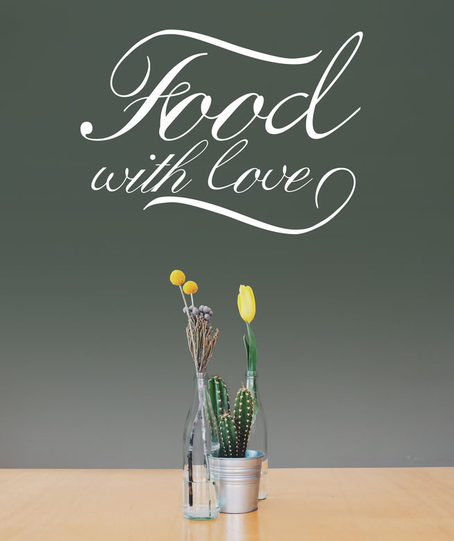 Food with love quote. The font has a swirly handwritten element looking elegant. Great for a family kitchen, cooking or dining room.