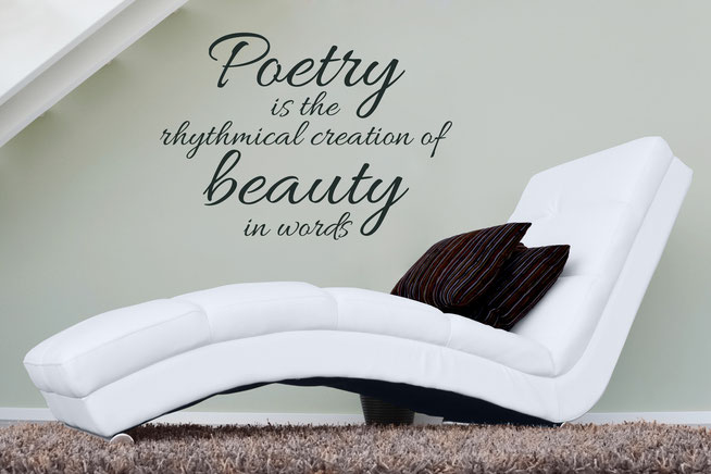 Poetry is the rhythmical creation of beauty in words Edgar Allen Poe quote vinyl sticker. Swirly handwritten joined up font. Easy to apply to walls and comes in many colours at wallartcompany.co.uk