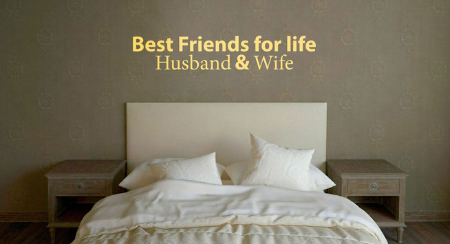 Best freinds for life, Husband and Wife vinyl decal quote in cream. From wallartcompany.co.uk