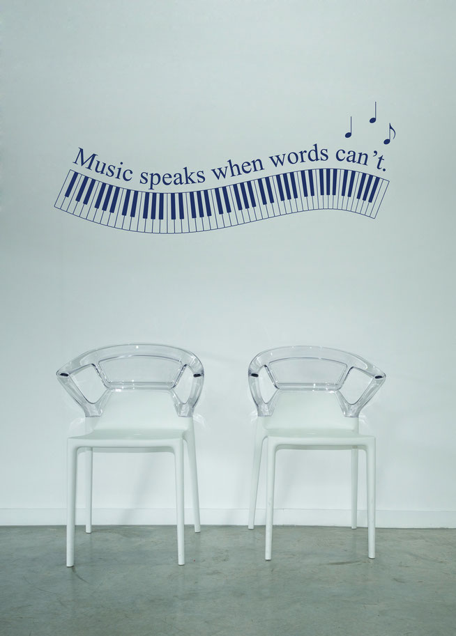 Music Speaks When Words Can't piano with notes vinyl wall art. 88 keys on the piano available in various colours from www.wallartcompany.co.uk