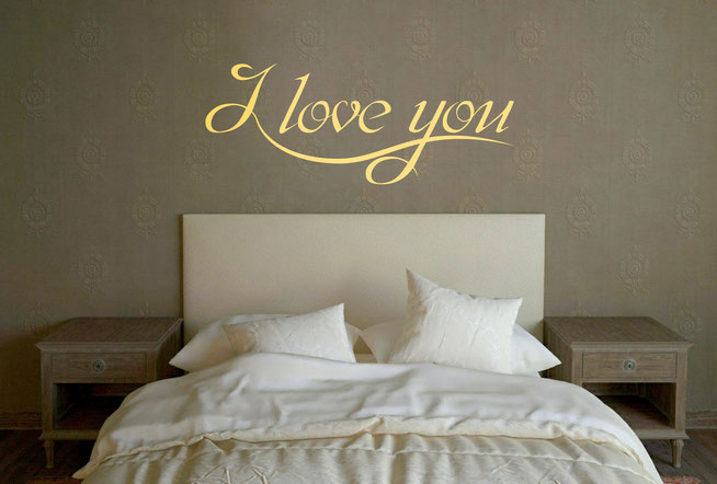 I love you vinyl wall art text quote with a handwriting joined up font. The I runs underneath the other letters making an elegant design.  From www.wallartcompany.co.uk