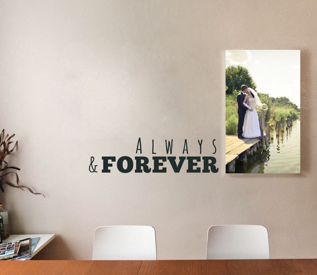 Always and Forevery vinyl quote, perfect to sit beside or underneath wedding photographs from www.wallartcompany.co.uk comes in loads of colours