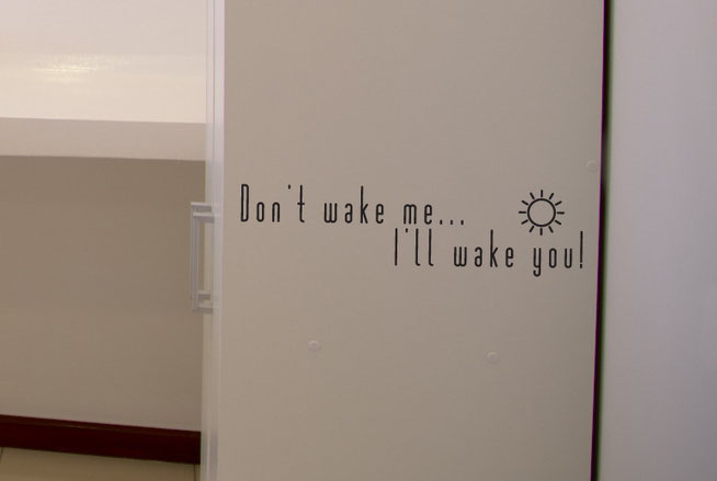 Don't wake me up... I'll wake you! with a cute sun shining. For a lovely nursery wall art sticker. From wallartcompany.co.uk