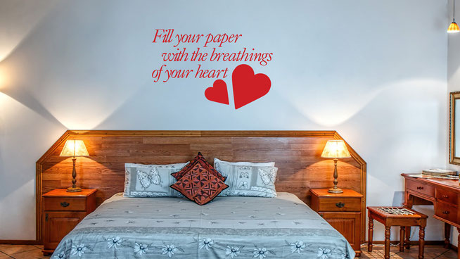 Fill your paper with breathing of your heart William Wordsworth quote vinyl sticker. With love heart embelishments. Easy to apply to walls and comes in many colours at wallartcompany.co.uk