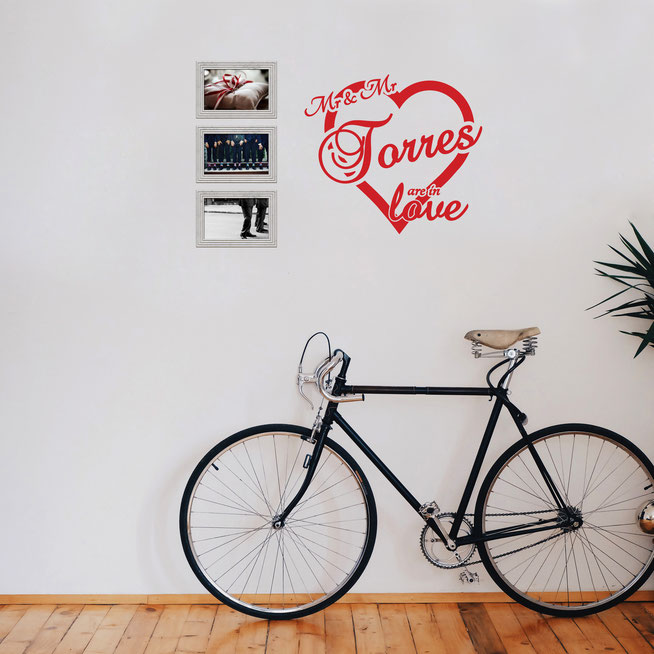 Mr & Mr Torres are in love vinyl wall art sticker. A perfect gift for a newly married couple on their wedding day. Add your own last name for personalised wall art that will wow your friends and remind you of your special day. From wallartcompany.co.uk