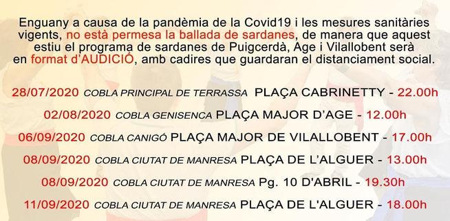 Sardanes - Estiu 2020 - Puigcerdà - Programa