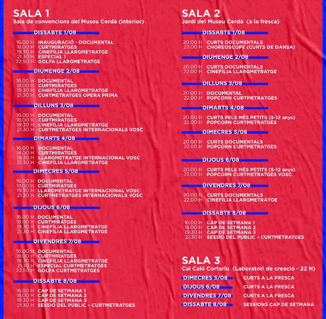 Festival Internacional de Cinema de Cerdanya - Programació