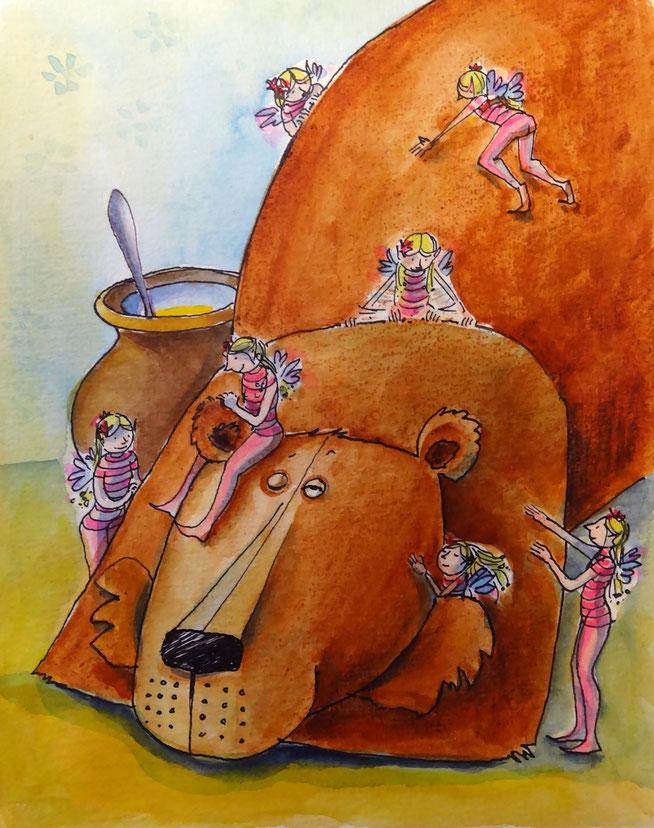 Der Bär liegt da und genießt die Streicheleinheiten der kleinen Elfe.