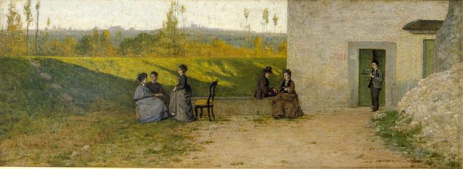 Silvestro Lega, La visita in villa, 1863