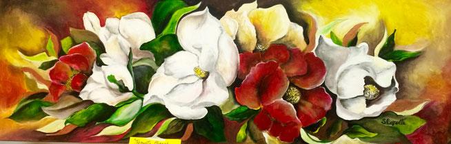 Susanna Corsetti, fiori - acrilico su tela 150 x 50