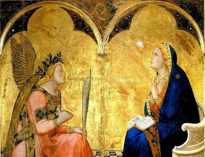 Ambrogio Lorenzetti, Annunciazione,  Pinacoteca Nazionale di Siena, 1344, tempera e oro su tavola.