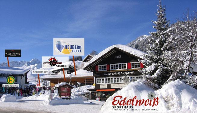 Sporthaus Edelweiss – zentralste Lage in Hirschegg im Kleinwalsertal