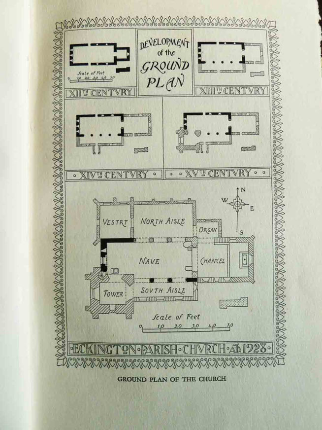 Ground plan showing the development of Eckington Parish Church.