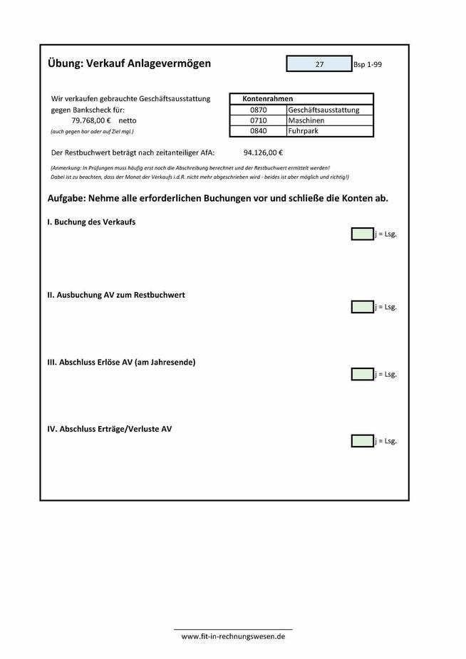 Verkauf Anlagevermögen (AV): Aufgaben und Lösungen