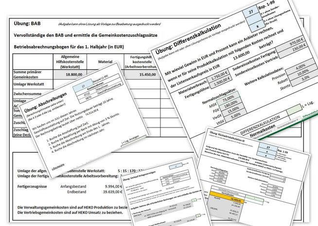 Übungsaufgaben der Kosten- und Leistungsrechnung und Buchhaltung
