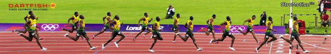 """Usain Bolt stated in Stuff's 08.04.12 article: ""Usain Bolt's Gadget Life"": ""To monitor my training we use Dartfish technology.....it pretty much just slows everything down so you can work on your technique – I just run! It's really improved my starts..."