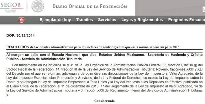 CLIC PARA VER RESOLUCIÓN DE FACILIDADES ADMINISTRATIVAS PUBLICADA EN EL DIARIO OFICIAL DEL 30 DE DICIEMBRE DEL 2014.