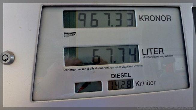 Diesel Liter 14,28 SEK/1,66 Euro! Unser Verbrauch: < 10l/100km