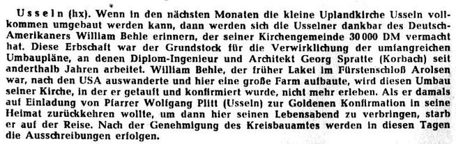 (Auszug aus einem Bericht der WLZ v. 21.6.1961)