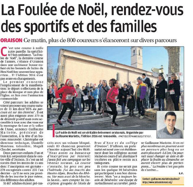 Article La Provence du 10 décembre 2016