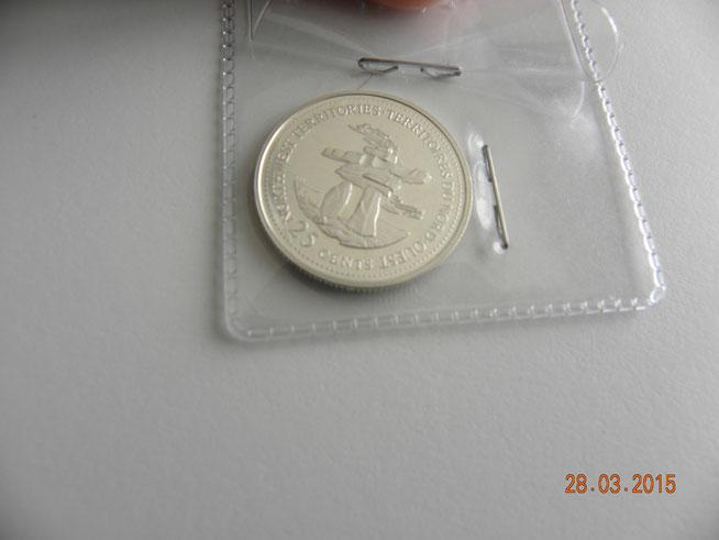 25 cents 1992 territoires du nord-ouest  en argent  5$