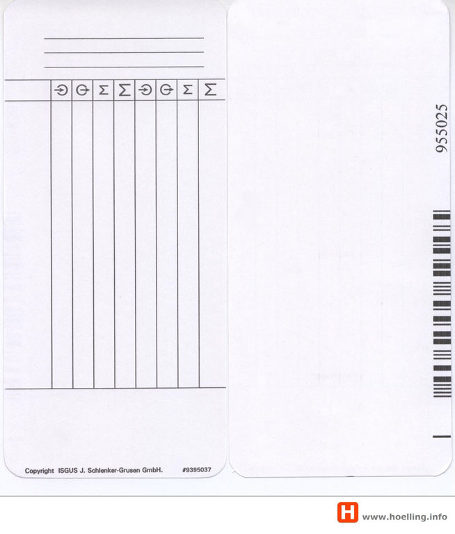 ISGUS Stempelkarte PERFECT 2040 einseitig codiert  - www.hoelling.info