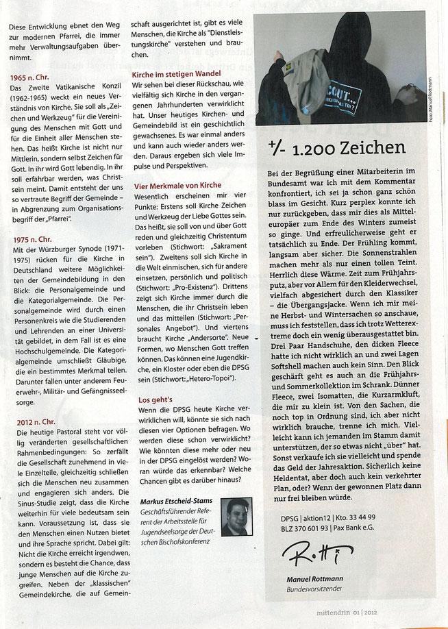 """aus dem Magazin der DPSG """"mittendrin"""" Ausgabe 1/2012"""