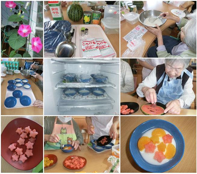 手作りの「七夕フルーツ杏仁豆腐」に蒸し暑さも忘れました。もちろん、味も抜群でした!