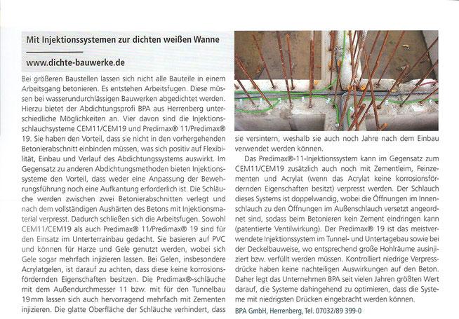 Zeitungsausschnitt des Magazins Der Bausachverständige