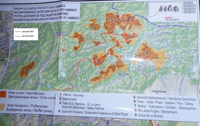 Nos parcours de 2013 et 2015 dans le massif des Dolomites