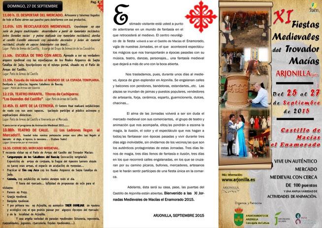 Programa del Mercado Medieval de Arjonilla