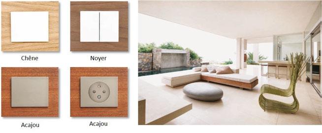 Collection Bois de la gamme d'interrupteurs Decente