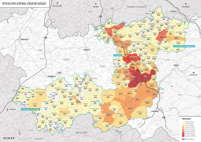 Carte du périmètre du GAL du Pays d'Epinal
