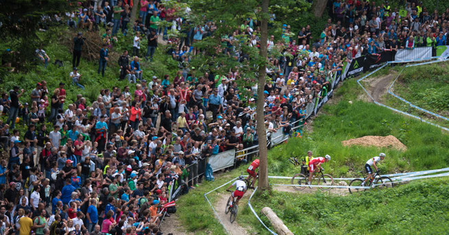 erren-Rennen 2015 mit Julien Absalon an der Spitze, vor Nino Schurter, Florian Vogel und Jaroslav Kulhavy © Lynn Sigel