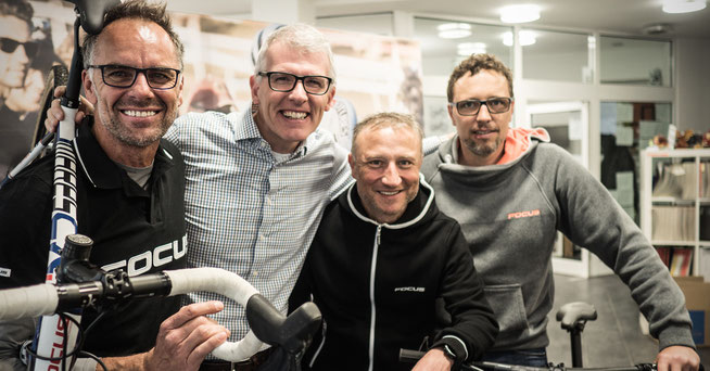 V.l.n.r.: Mike Kluge, Thomas Raith (CEO Derby Cycle), Marc Faude (Director Product Unit Performance), Martin Schamböck (Director Brand Management FOCUS) © Derby Cycle