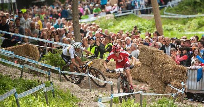 Florian Vogel, hier beim MTB-Weltcup in Albstadt vor Julien Absalon © Andreas Dobslaff/EGO-Promotion
