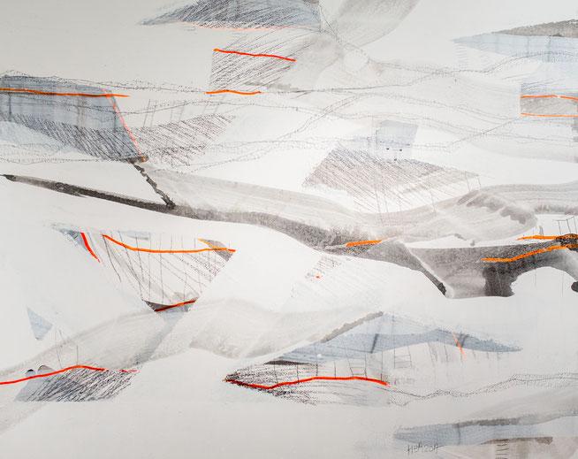 maps,  Tusche und Graphit mit Kreidegrund auf Leinwand, 100/120cm