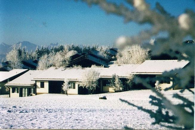 Winterbild vom Feriendorf in Lechbruck am See, Blick auf Ferienhaus Knöpfle Haus 118