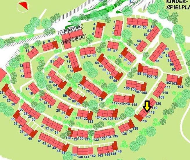 Lageplan Feriendorf Lechbruck am See mit Markierung von Haus 118