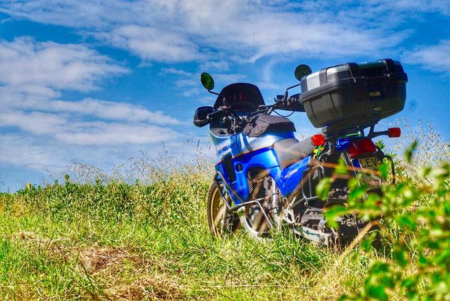 Honda Transalp PD06 Baujahr 89 Reiseenduro Motorrad mit Koffern für Weltreise