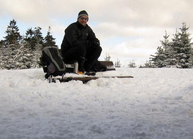 Wandern Schnee Thermoskanne