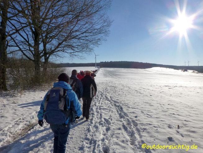 Wandern Winter Gruppe