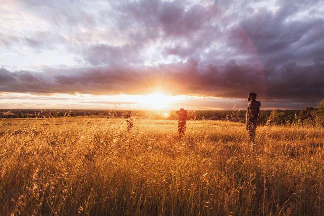 Freiheit Freunde Abenteuer Korn-Feld Sonnenuntergang