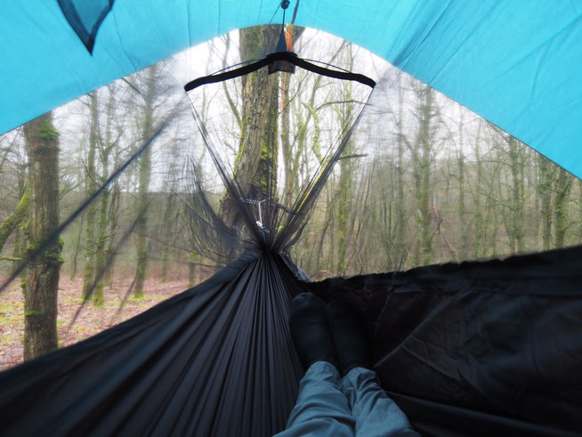 Blick aus der Amazonas Moskito-Traveller Hängematte in den Wald