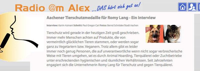Aachener Tierschutzmedaille - Ein Interview von Karim Azmani mit Romy Lang