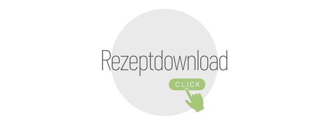 grüner Pfeil zeigt nach unten, grün eingerahmt, grüner Apfel im Vordergrund. Text: Das Rezept kann du hier downloaden